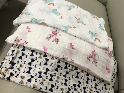100 % cotton Muslin Baby Swaddle/ Bedung bayi (3pieces)size 120x110cm