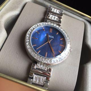 美國代購- 兩色!Fossil 貝殼絲盤帶鑽女腕錶 貝殼面