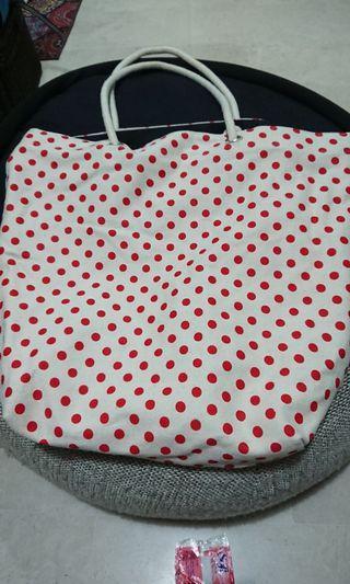 Large Tote Bag with Polka Dot Prints