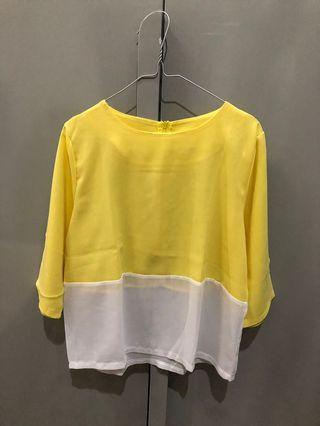 baju bangkok lengan 7/8 baju kerja baju atasan kuning