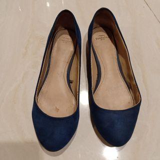 Zara navy flat shoes