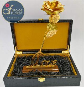 """1 Stalk 24K """"Gold Foil Plated"""" Rose in a classic Crocodile skin Suitcase  