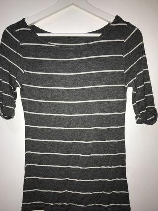 grey blouse striped