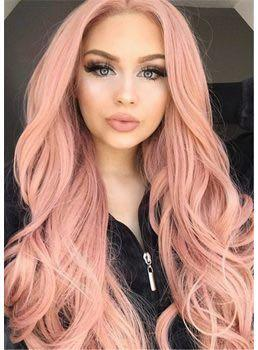 🚚 synthetic lace dusty pink wig