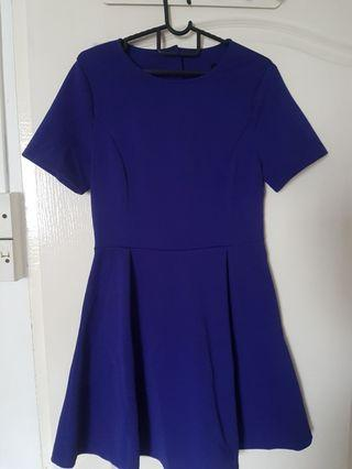 Zalora Royal Blue Skater Dress with back cut out