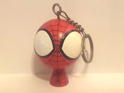Marvel Spiderman 蜘蛛俠 木製 鎖匙扣 Q版 九成半新