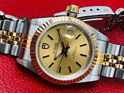 Hari Raya Special 30% off - Ladies Tudor by Rolex, 18K Solid Gold Bezel, Oyster Date 92413, Automatic, Quickset, Year 1994/95, with Box but No Papers