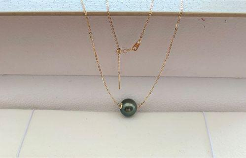 Tahitian pearl with adjustable 18k gold chian