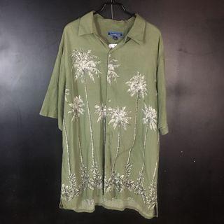古著 抹茶綠椰子樹夏威夷襯衫