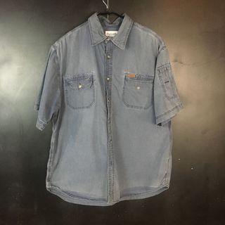 古著 carhartt 灰藍方格短袖襯衫 c31
