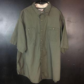 古著 carhartt 軍綠短袖襯衫 c16