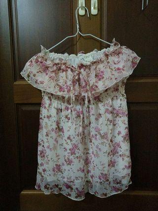 【保證新品】小碎花 粉紅色平口洋裝 全新