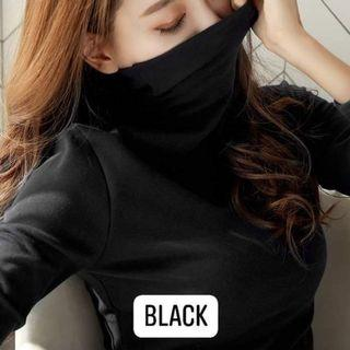 Black Long- Sleeved Turtle Neck Top