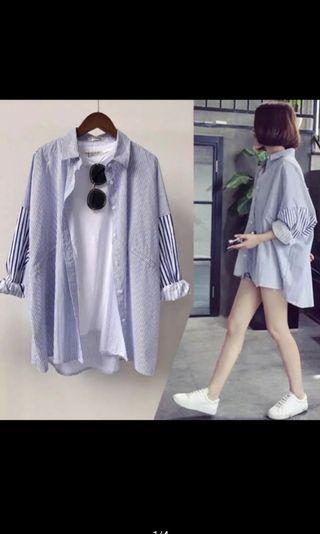 豔❤️藍色直條紋大尺碼襯衫外套