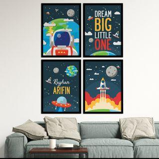 Space Theme Wall Art for Children Room