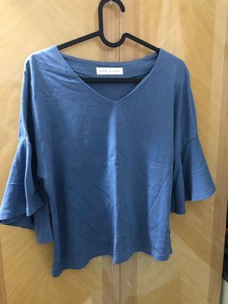 日本牌子 sense of world 紫藍色啦叭袖 top