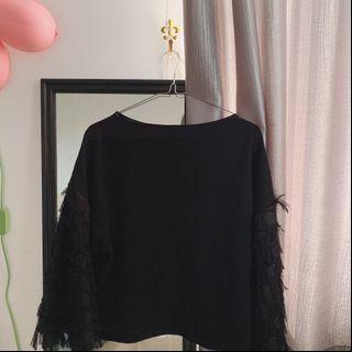 Black Fur Top H&M