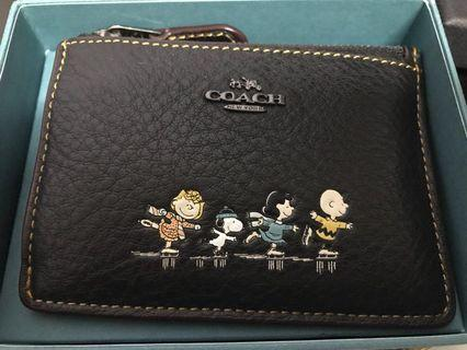 Coach peanuts ice skating snoopy Black mini ID skinny wallet  16108B w