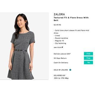 🚚 Textured Fit & Flare Dress With Belt Zalora