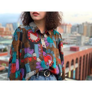 🚚 古著 • 雪紡絲質花襯衫