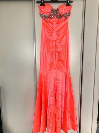 Neon Pink Prom Dress Size 2