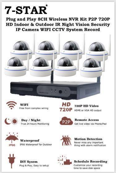 4/8CH Wireless IP Camera Set - Wifi Wireless Plug & Play 4