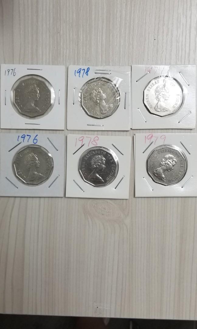 香港英女皇  5元港元硬幣(76, 78, 79年)一套價