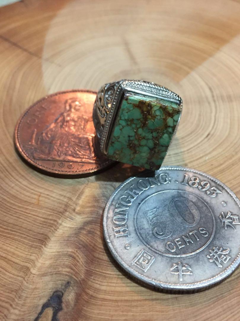 方形綠松石介指