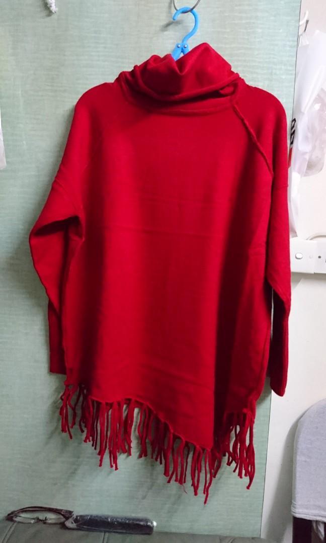 不規則下擺流蘇寬鬆蝙蝠衫毛衣