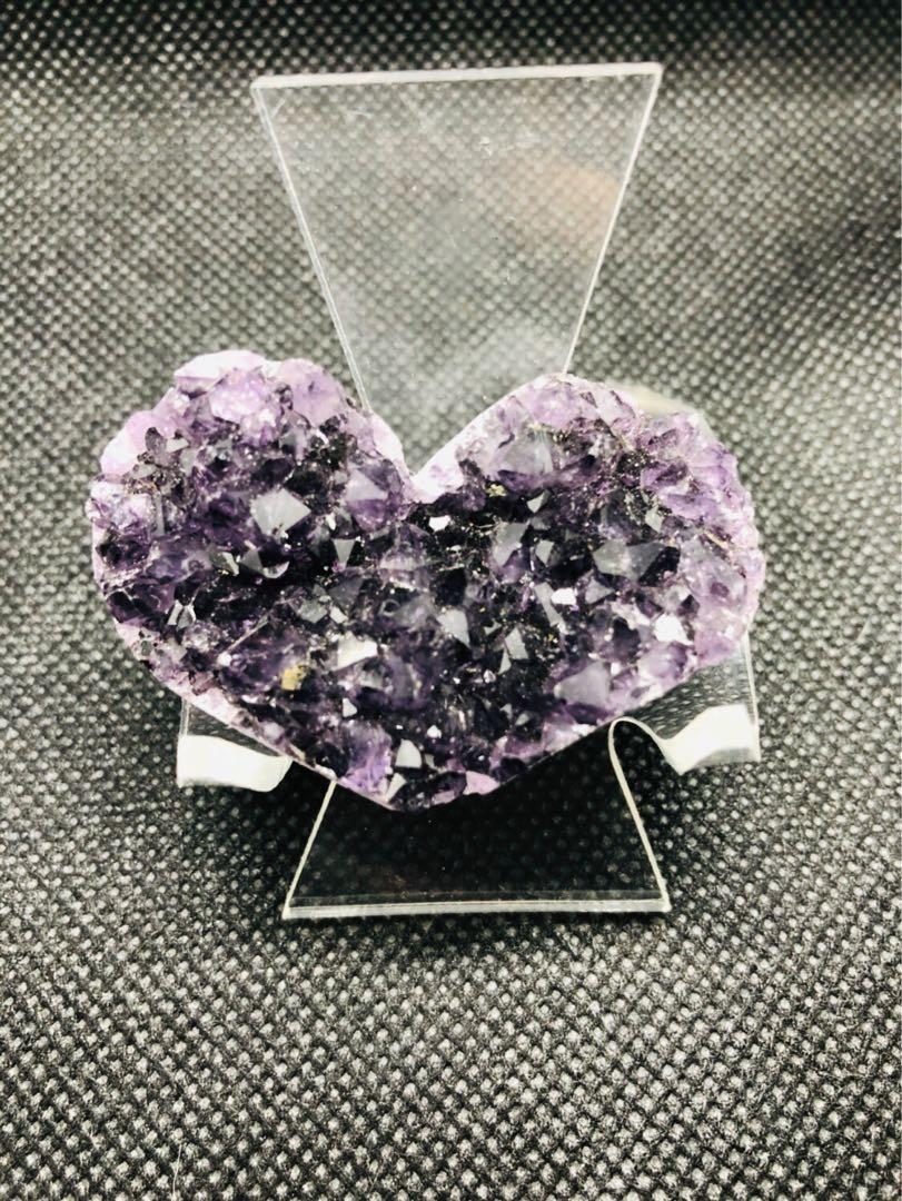 聖誕減價 烏拉圭 心型 小愛心 紫水晶(3)