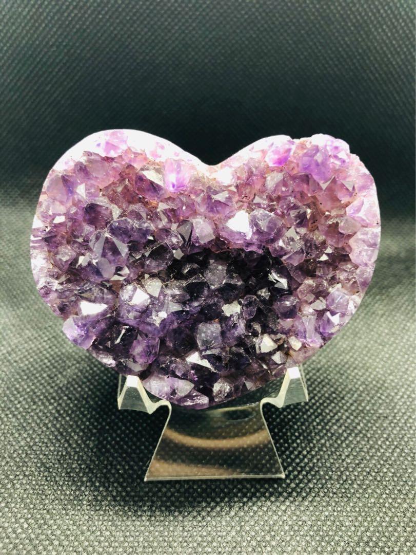 烏拉圭 愛心 紫水晶 紅瑪瑙邊