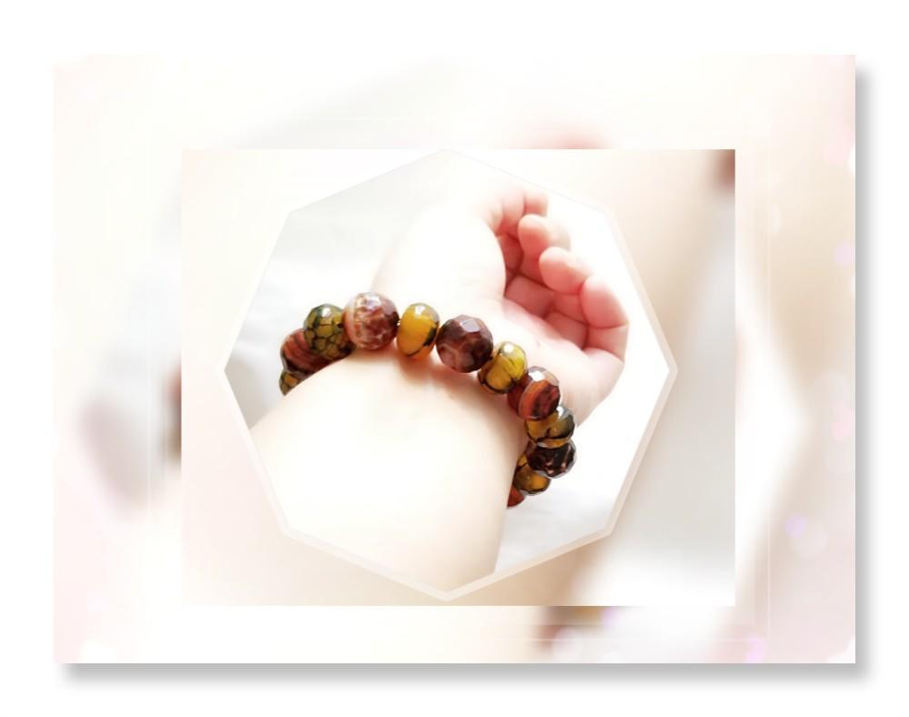 全新品 原產地: 巴西 天然色 優質色澤柔潤 14mm 切面圓珠手串 一條/ QB~67