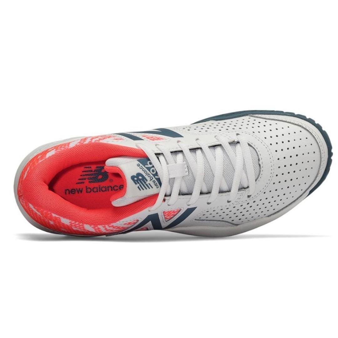 現貨 iShoes正品 New Balance 女鞋 寬楦 網球鞋 球鞋 皮革 白 橘紅 耐磨 WCH696B3 D