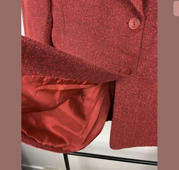 Anthea Crawford sz 10 red tweed knit women blazer jacket work career designer