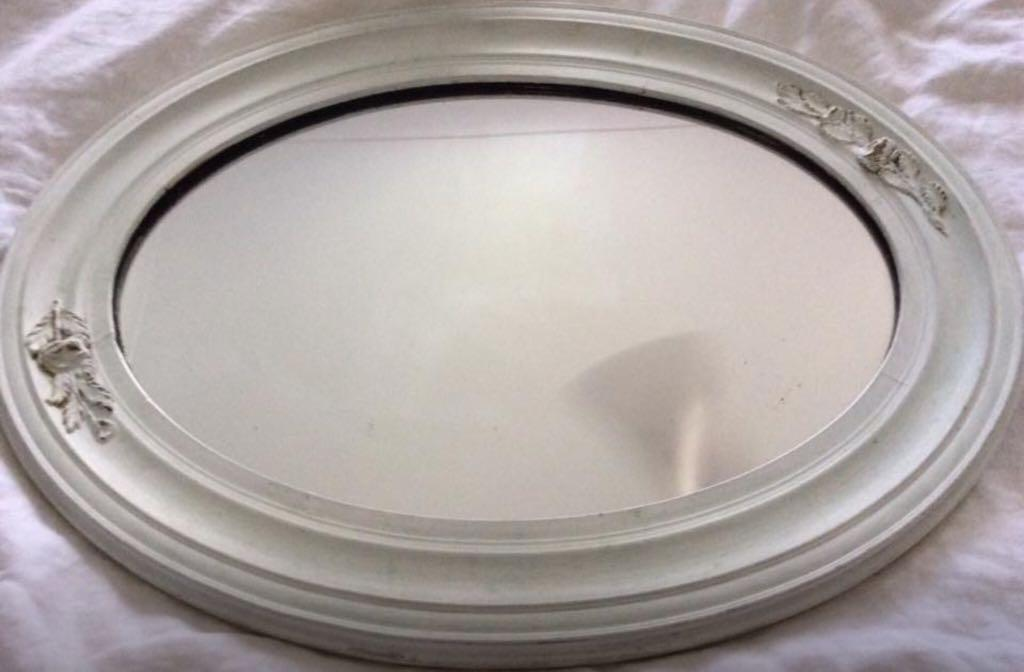 Antique White French Inspired Oval Mirror
