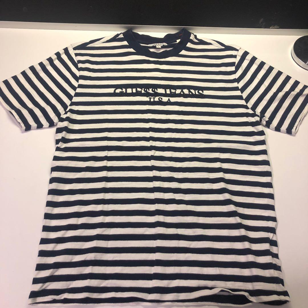AUTHENTIC GUESS X ASAP ROCKY GUE$$ JEANS STRIPE T SHIRT