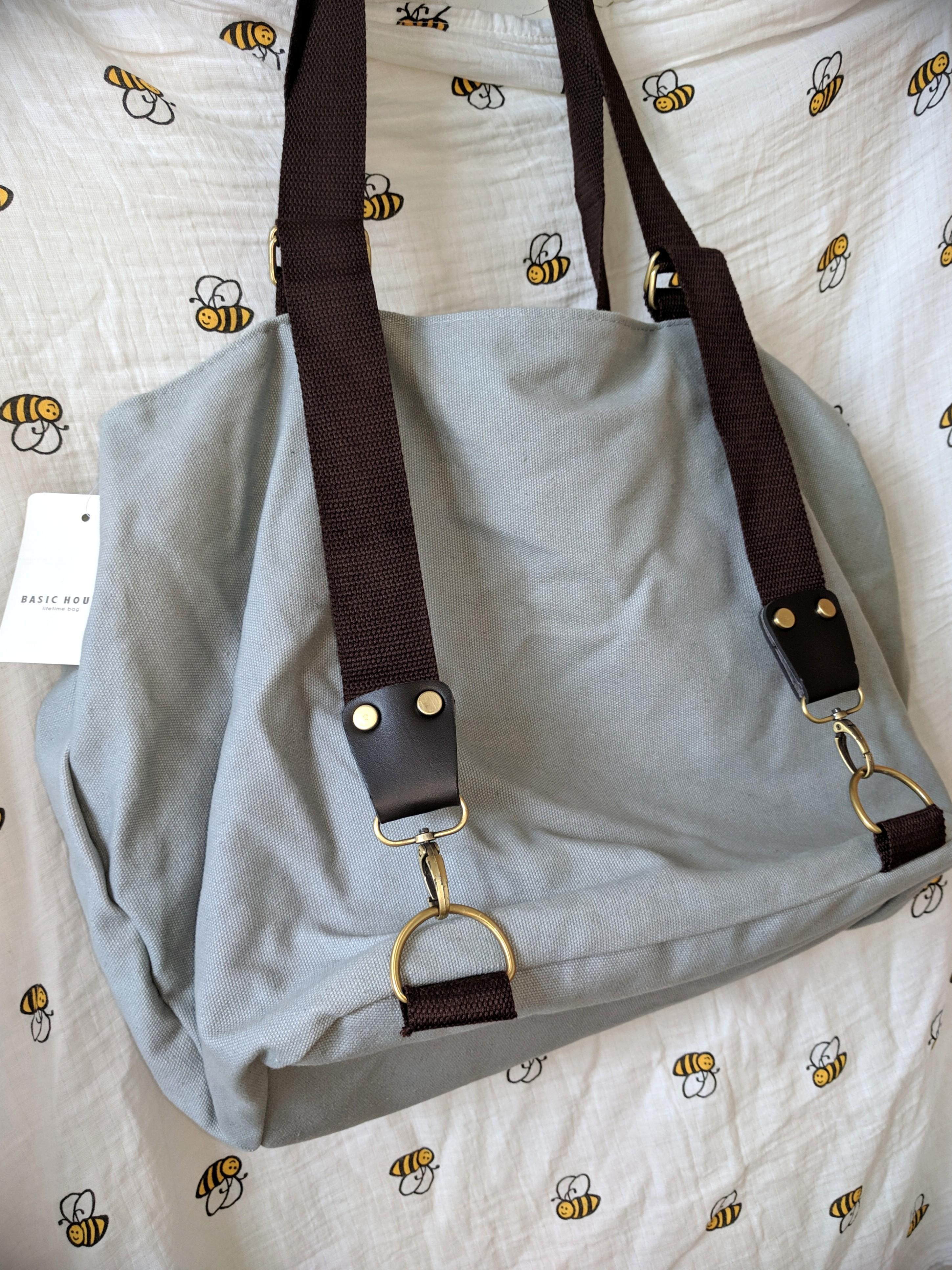 Basic House 韓袋。旅行大容量袋。灰藍色。100%new。