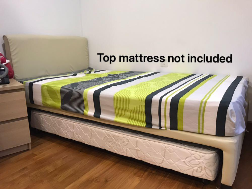 Bed frame super single with pull out mattress