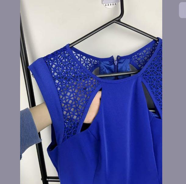 Blue Juice 12 lace cut out hot electric blue women dress party sexy date night