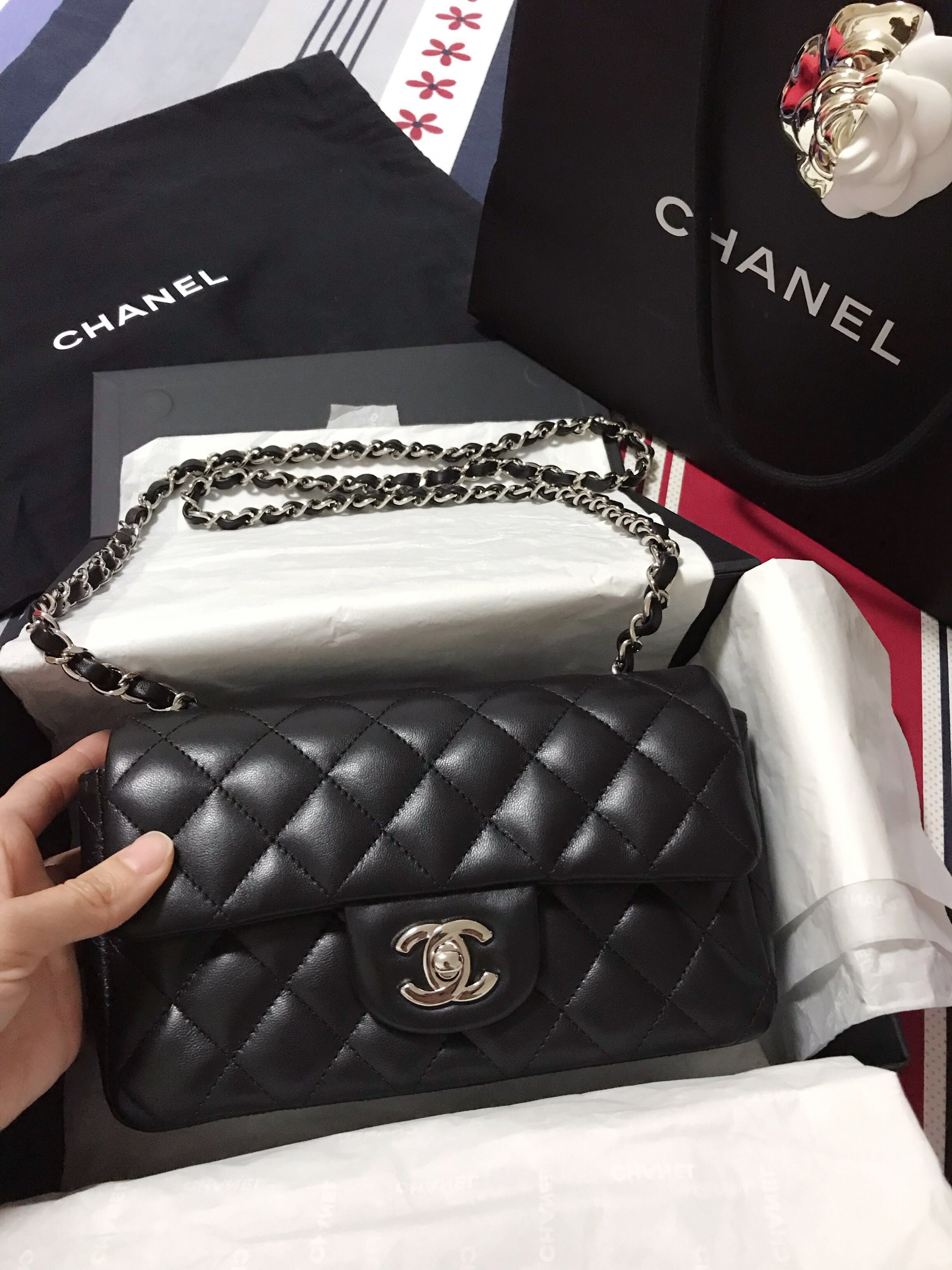 f1dcbd044806 BN Chanel Mini Rectangular in SHW, Luxury, Bags & Wallets, Sling Bags on  Carousell