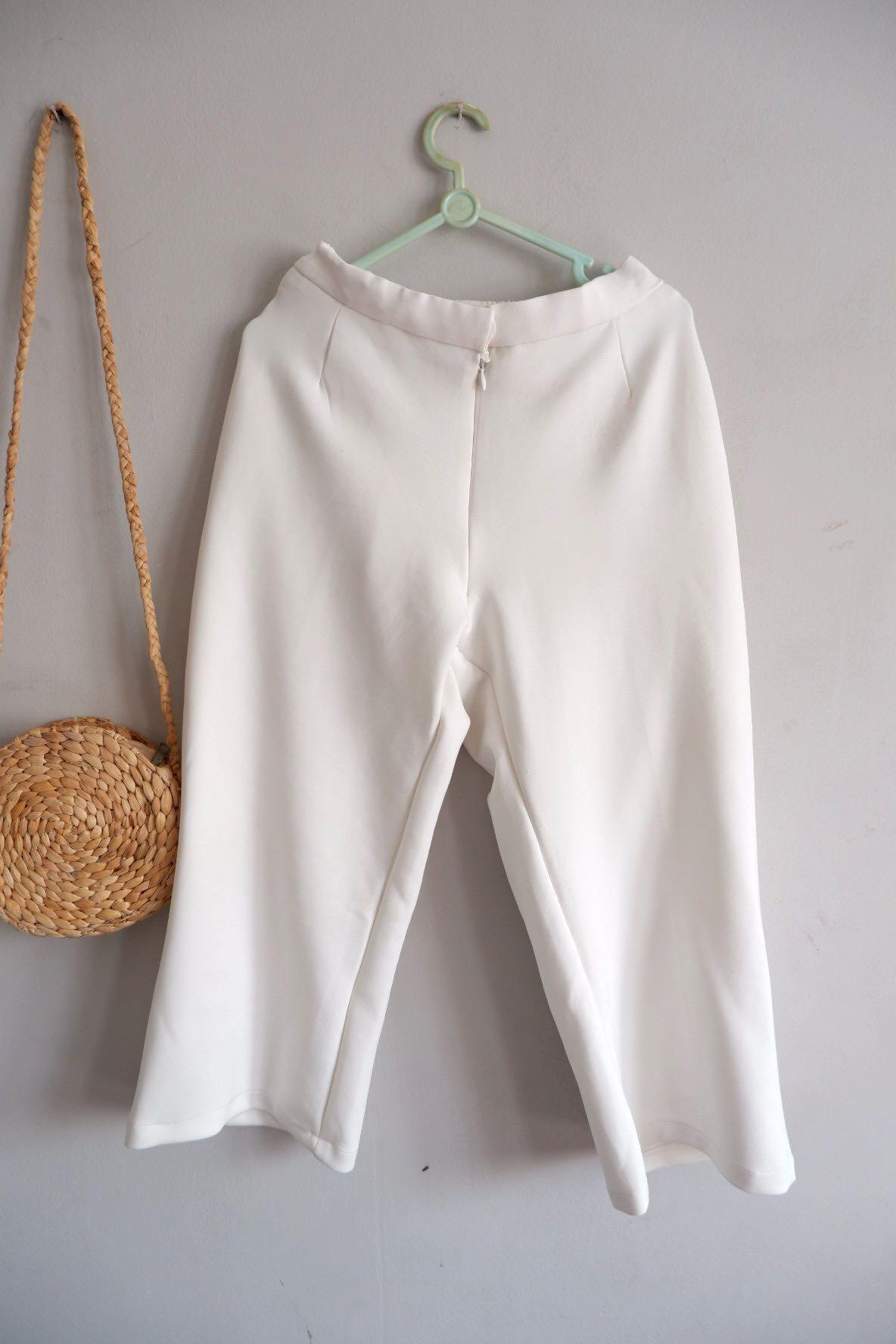 Celana Kulot Putih 7/8 #bapau