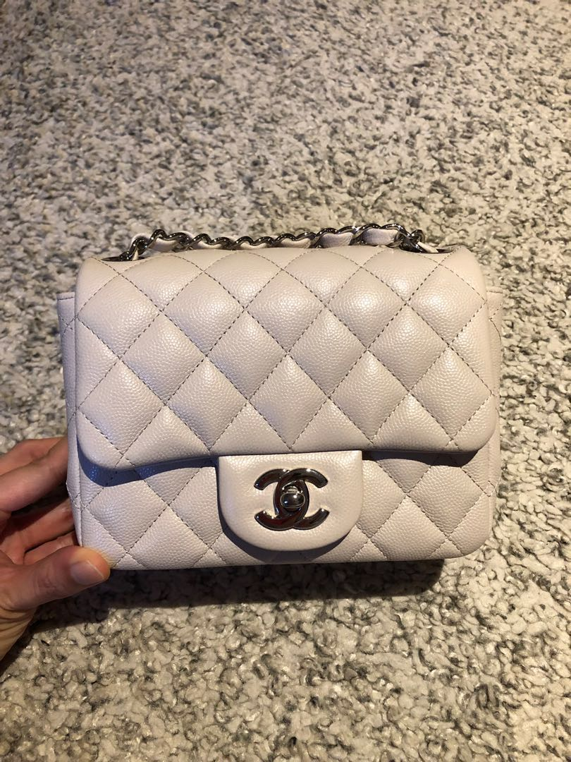 866b6965fa4 ❄️Chanel Pearl white Caviar Square Mini❄ , Luxury, Bags ...
