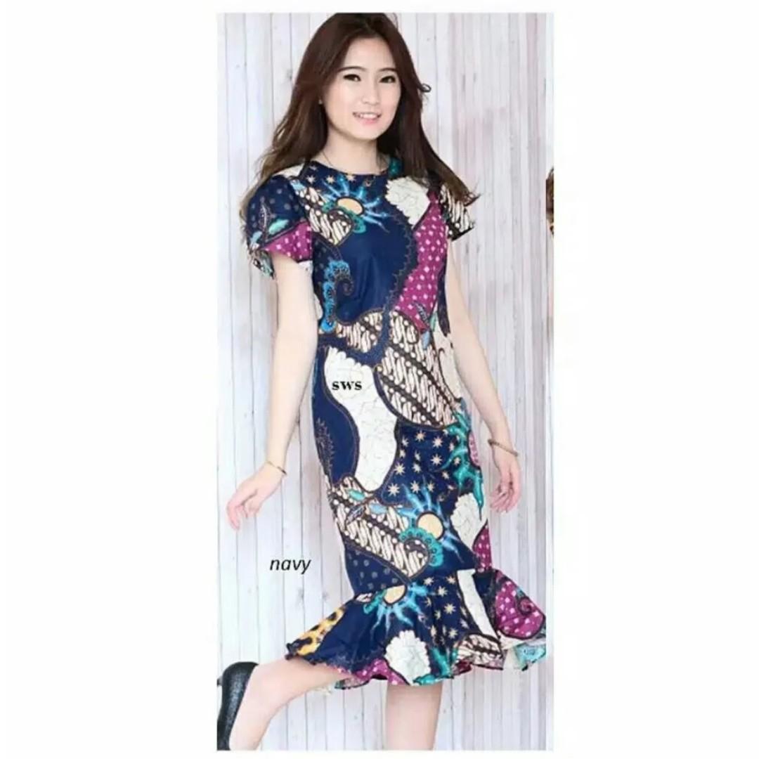 Dress Batik Modern Baju Batik Terusan Biru Model Peplum Mermaid