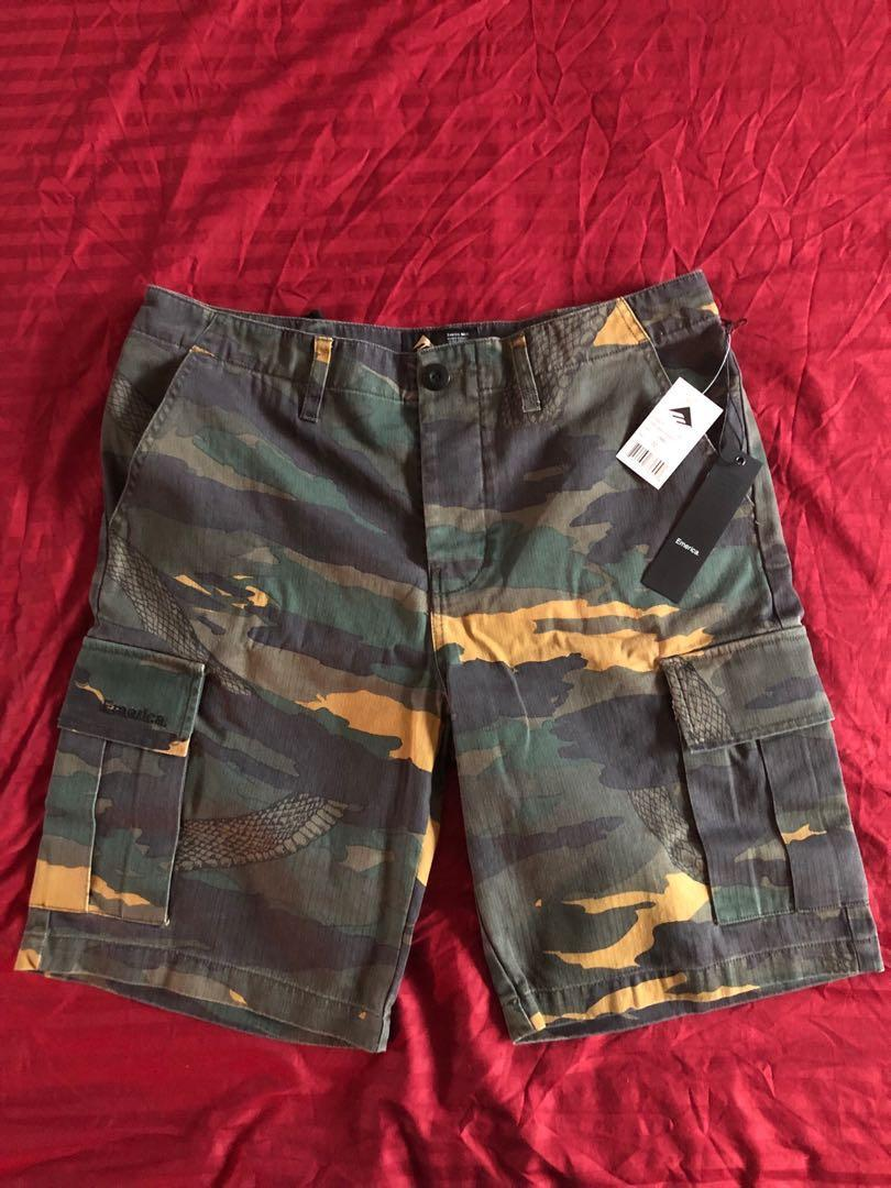 Emerica Tour Cargo Shorts (Camo with Snake print)