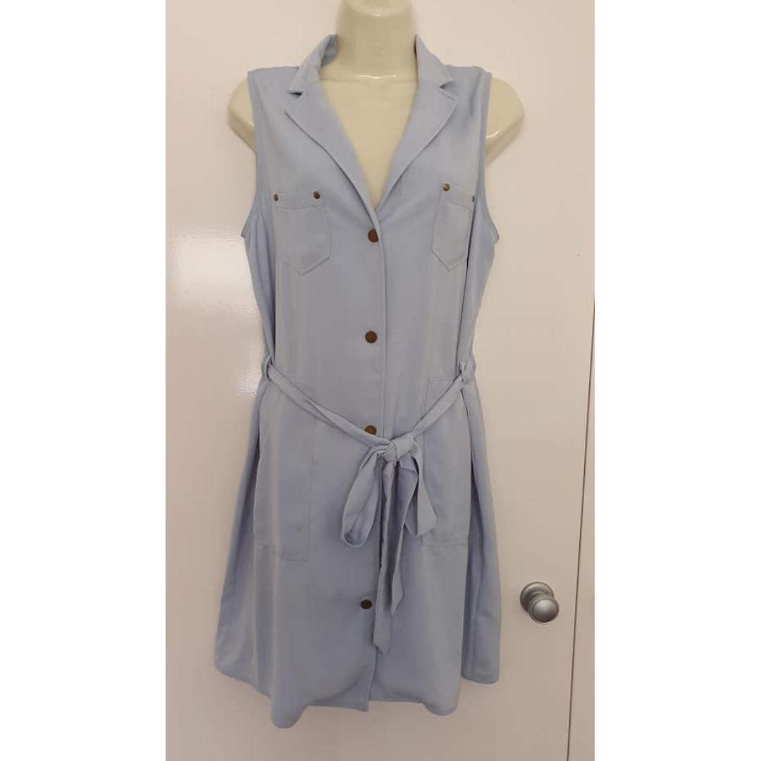 Euc Size 12 TEMT Collection light blue sleeveless shirt dress