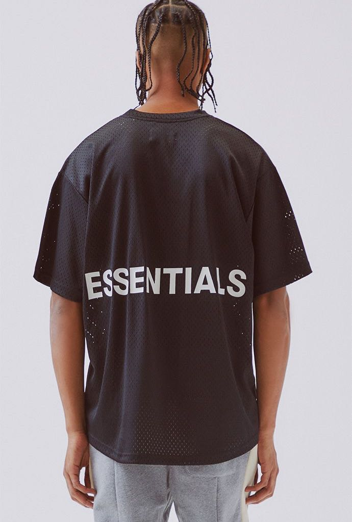 a76c5a43 FOG Essentials Black Mesh Tee (Fear of God), Men's Fashion, Clothes ...