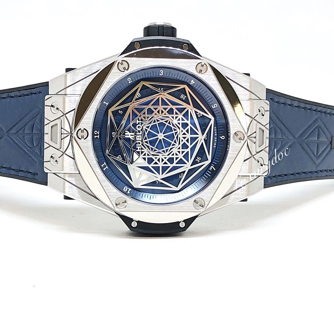 FS.BNIB HUBLOT BIG BANG UNICO SANG BLEU TITANIUM BLUE LIMITED EDTION AUTOMATIC 45MM WATCH 415.NX.7179.VR.MXM18