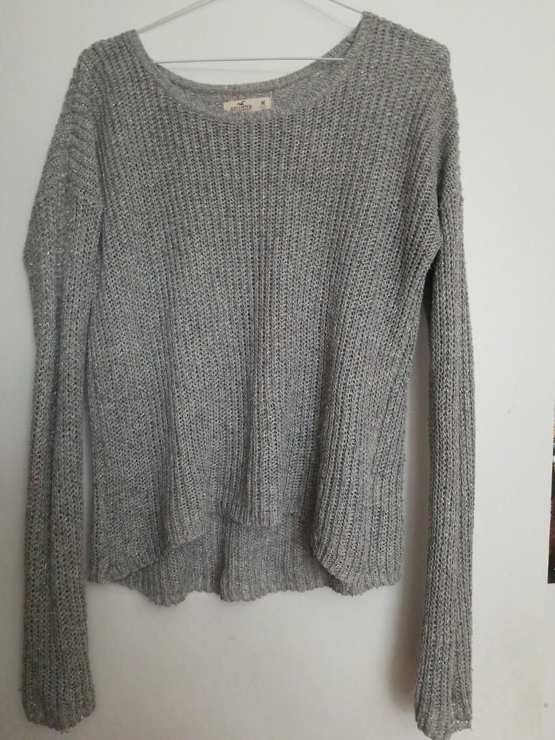 Grey Glitter Hollister Sweater
