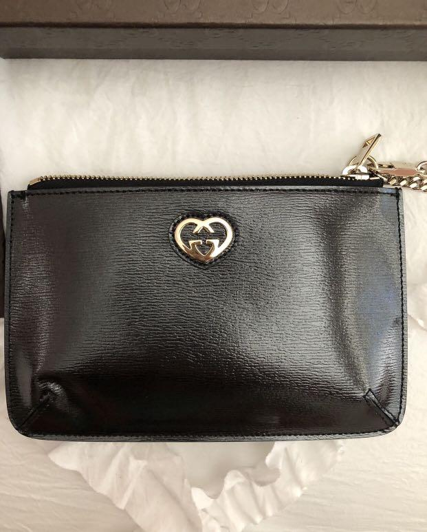 Gucci Interlocking GG Heart Black leather Wristlet