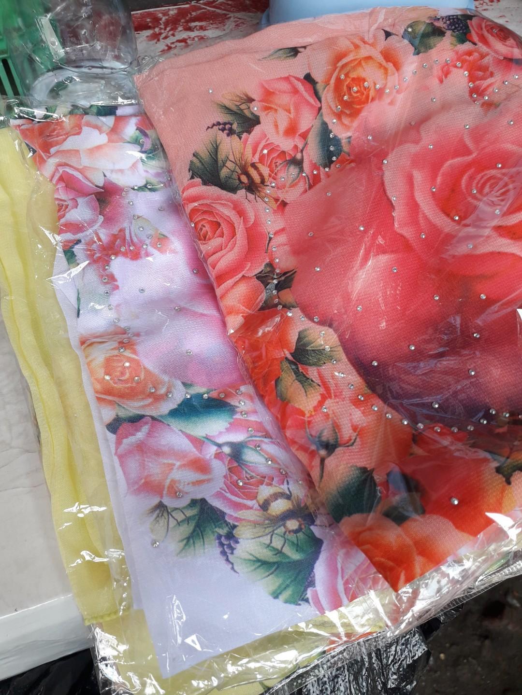 Hijab bella lukis printing mawar
